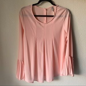 Pink Button Down Back Bell Pleated Sleeve Blouse